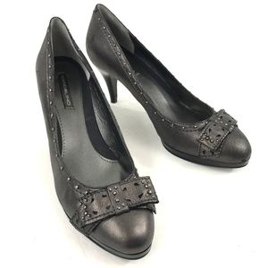 Bandolino Leather Studded Pewter Pumps 8.5